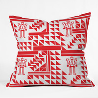 Vy La Robots And Triangles Outdoor Throw Pillow