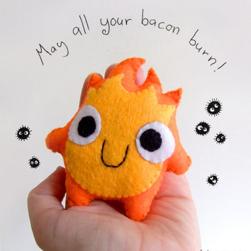 very cute calcifer (howl's moving castle) fire plush