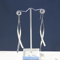925 Sterling Silver Double Twist Dangle Earrings