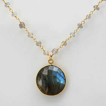 Personalized Large Natural Labradorite Vermeil Gold bezel set labradorite wire wrapped necklace - available in a variety of gemstones