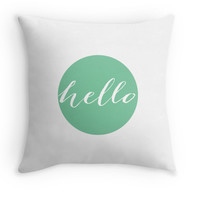 Mint Hello Pillow Cover