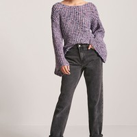 Marled Bell-Sleeve Sweater