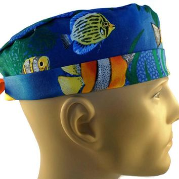 Men's Adjustable Cuffed or Un-Cuffed Surgical Scrub Hat Cap in Tropical Fish