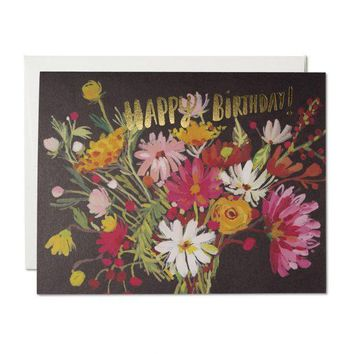 RED CAP CARDS VINTAGE BIRTHDAY BOUQUET CARD