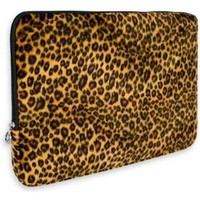 Leopard Animal Print Faux-fur Carrying Case Sleeve for Apple MacBook 13 inch Notebook Laptop Computer
