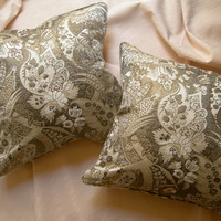 Pair of Rubelli Serse Silvery Grey & White Silk Lampas Fabric Throw Pillow Cushion Covers - Handmade in Italy
