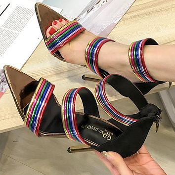 Fashionable women's shoes pointed rainbow-colored open toe sexy stiletto sandals