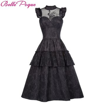 Belle Poque Retro Black Steampunk Gothic Dress 2018 Ruffle High-Neck Lace Up Women Summer Swing Vintage Victorian Punk Dresses