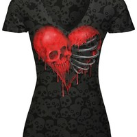 """WOMEN'S """"RIBCAGE HEART SKULL"""" BURNOUT TEE BY LETHAL ANGEL (BLACK)"""