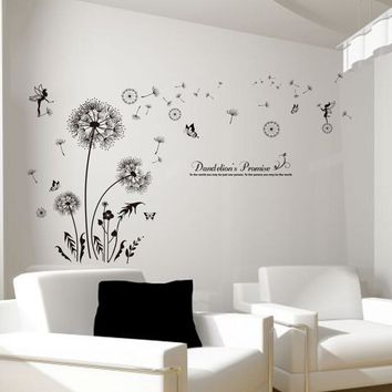 black dandelion elf wall stickers creative wall decals DIY flower adesivo de parede for living room bedroom decoration