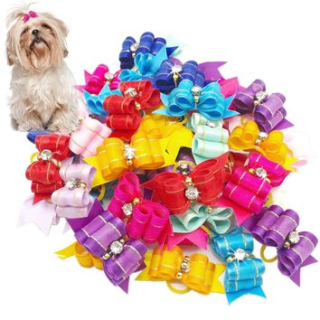 20/50/100pcs  Handmade Designer Dog Hair Bows With Rubber Bands Rhinestone Cat Puppy Grooming Bows for Hair Accessories