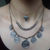 Coin Pendant Boho Bohemian Silver And Gold Necklace Set from Fresco