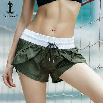 YANQIN 2018 New Mesh Sports Shorts Patchwork Gym Yoga Short Sexy Bandage Quick Dry Women Fitness Shorts Loose Running Bottom