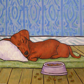 Sleeping dachshund coaster