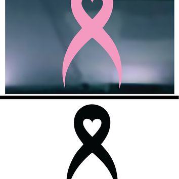 (2) TWO - Breast Cancer Heart Vinyl Graphic Decal