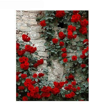 GATYZTORY Frameless Romantic Rose DIY Painting By Numbers Flower Wall Art Picture Paint By Number Canvas Painting For Home Decor