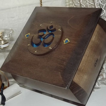OM Symbol - Handmade Dark Oak wooden Box with the OM Symbol. You can Personalize a small Brass Plaque. Initials, Name, Word or Sentiment