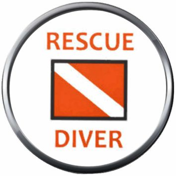 Rescue Diver Down Flag Scuba Dive Ocean Deep 18MM - 20MM Snap Jewelry Charm New Item