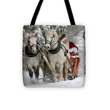 Santa Sleigh With Horses - Tote Bag