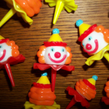 Clown Face Cupcake Picks Baking Craft Supply Vintage Cake Topper Retro Birthday Novelty Set of 10 Big Top Circus Party Decor
