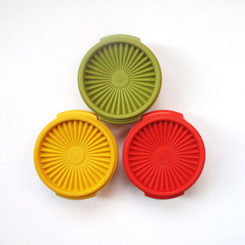 Vintage Tupperware Containers, Set of Three Servalier Bowls and Lids