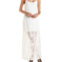 Ivory All-Over Lace Maxi Dress by Charlotte Russe