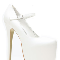 White Faux Leather Mary Jane Platform Pumps