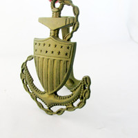 Solid Brass Door Knocker Ship's Anchor With Shield Signed Penco Vintage Nautical Collectible Gift Item  2268F