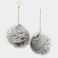Rabbit Fur Pom Pom Dangle Earrings - Grey Multi