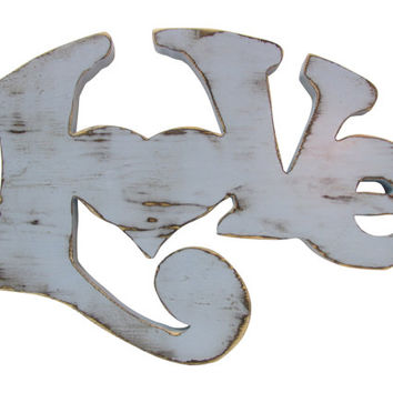 Love Sign Hippie Style Wooden Sign Shown in Soft Blue Pine Wood Sign Wall Decor Rustic Americana Cottage Fun shabby chic word sign wall art