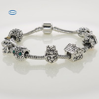 Men Bracelets Crown Lion Charm House Owl Frog Official Design Beads For Man Charm Bracelets Jewelry Gifts NB75