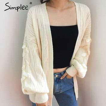 Simplee V neck elastic cardigan winter sweater women jumper Knitted cardigan female coat Lace up casual sweater pull outerwear