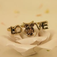 High Quality Fashion Alloy Costume Jewellery Ring For Women Love Owl Double Ring