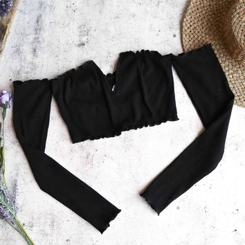 reverse - pretty lady ribbed crop top with long sleeves - black