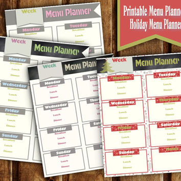 Printable Menu Planner - Weekly Meal Plan Set - Holiday Menu Plan - Christmas Days Meal Plan - INSTANT DOWNLOAD - Holiday Menu Plan