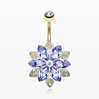 Golden Marquis Lotus Belly Button Ring