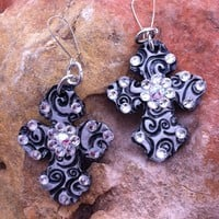 Custom Black Swirl Cross Earrings