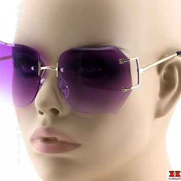 2-PAIR Modern Rimless DIAMOND CUT Women Sunglasses STYLISH Gold Frame Purple