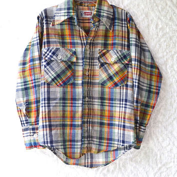 1970s LEVIS Childrens Button Up Shirt. Plaid Long Sleeve Top/ Boys Western Cowboy Shirt. Mod Rodeo Rancher. Girls Cowgirl Blouse/ Size 6/8