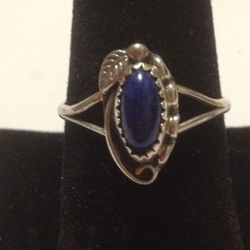 Navajo Lapis Ring Size 11.5 Sterling Silver Leaf 925 Blue Gold Stone Vintage Jewelry Handmade Artisan 50s Southwestern Tribal Native USA