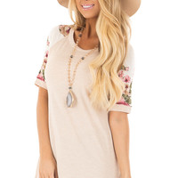 Light Blush Top with Floral Print Contrast