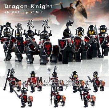 WM AX8801 Lord of the Rings Red Dragon Knight Medieval Castle Heavy Shield Building Blocks Collection Toys for Kids