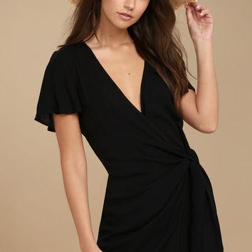 Vashti Black Wrap Dress