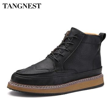 Tangnest New 2017 Spring Man Solid Cut-Outs Ankle Boots Men Handmade PU Leather Shoes Men Classic Lace Up Flat Platform XMX806