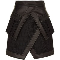 Balmain Croc Effect Wrap Skirt | Harrods.com