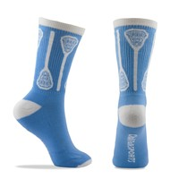 Lacrosse Vertical Sticks Crew Socks - Light Blue/White | Lacrosse Gear | Lacrosse Gifts