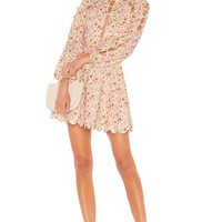 Long Sleeve  Floral Scallop Mini Dress