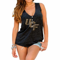 UCF Knights Original Retro Brand Womens Relaxed Henley Tank Top – Black