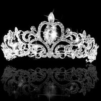 Wedding Bridal Princess Austrian Crystal Prom Hair Tiara Crown Veil Headband Silver = 1933217924