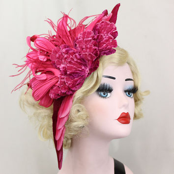 Red Feather Fascinator - Pink Hair Accessory - Flower Headband - Royal Ascot- Kentucky Derby - Unique Headdress - all Vintage Materials
